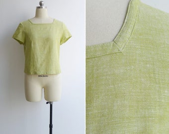 Vintage Lime Yellow Linen Square Neck Blouse M or L