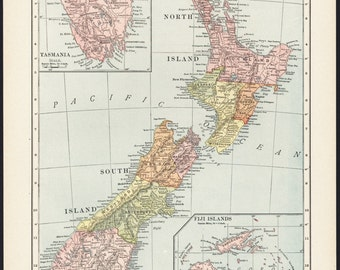 Map of New Zealand Map, 1910 Antique & Colorful Illustrated 11x14 Map (Reverse: Full-Page Foreign Country Pie Charts) No. 121-122
