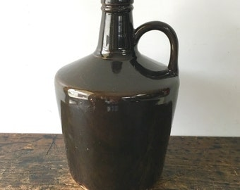 Antique Brown Glazed Whiskey Jug