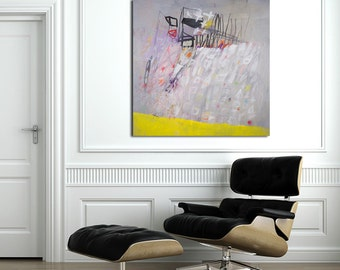 """Large Painting Wall Art Grey and yellow ABSTRACT painting 40x40 """"Resetting 01"""" modern canvas art by DUEALBERI"""