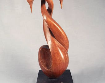 Mid Century Modern Teak Wood carving sculpture, two swans, signed