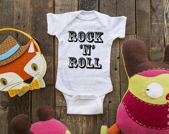 Rock 'N' Roll - fun saying printed on Infant Baby One-piece, Infant Tee, Toddler  T-Shirts