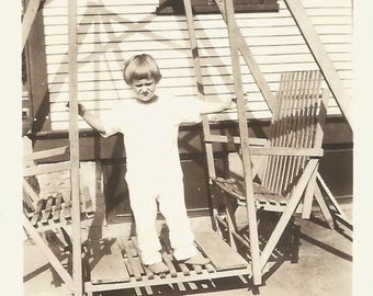 "Vintage Photo ""Porch Swing"" Shadows Light Children Photographer Shadow Found Vernacular Photo"