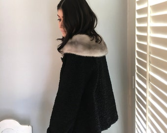 vintage Black Persian Lamb Jacket with silver gray mink collar 1950s early 1960s size M or L