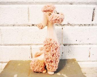 Vintage pink spaghetti poodle dog figurine mid century kreiss jeweled eyes, pink poodle, standard poodle