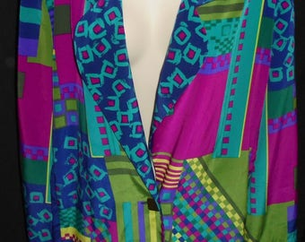 Vintage Funky Blazer Jacket 80's 90's Jo Hardin Size 12 Made In The USA Multi Colored Abstract Geometric