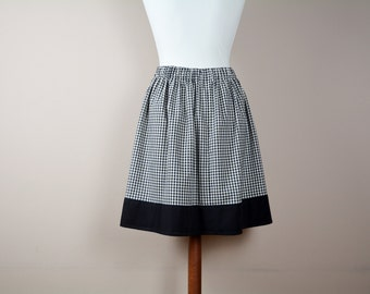 Gingham skirt, 50s skirt, mini skirt, aline skirt, black white skirt, cotton skirt, high waisted skirt, womens clothing, alicecloset
