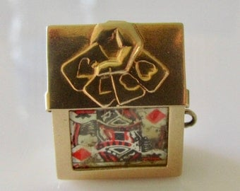 9ct Gold Deck of Cards Charm Opens