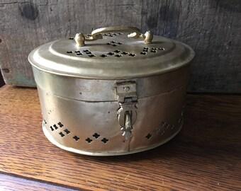 Vintage Large Oval Brass Indian Cricket Box/ Trinket Box