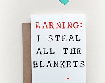 Funny Valentines Day Card, Valentines Card, Funny Love Card, Card for Him, Funny Card, Love Card, Valentine Card, Blanket Stealer
