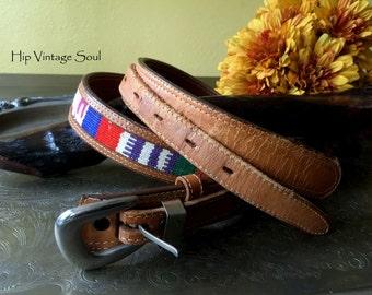 Vintage 1980's Fisher Belt, Fisher Cowhide and Cloth Belt, Western Belt, Ethnic Style Belt