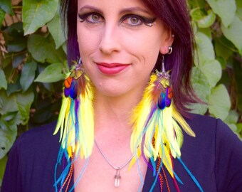 NEON GYPSY Long Feather Earrings SALE