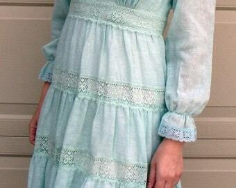 MINT GREEN peasant DRESS boho girly 60's 70's xs S