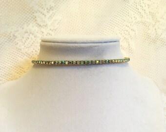 Vintage Aurora Borealis Rhinestone Choker Necklace Dainty Choker Necklace bridal choker