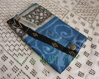 Large Assuit and Sari Scrap Zills Pouch- Shimmery Sea Blue and Gold Ikat Tribal Bellydance Zil Purse