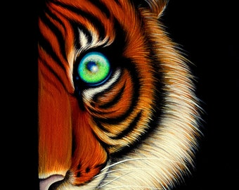ORIGINAL PAINTING Fantasy Lowbrow Big Eye Bengal Tiger Cat Cute Animal Whimsical Wildlife Pop Surrealism Acrylic Art Natalie VonRaven