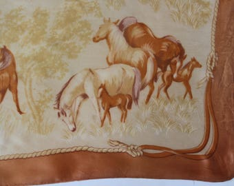 Vintage Silk Scarf - Horse Equestrian- Horses Riding -head scarf -pocket square - necktie neck scarf -cowboy western