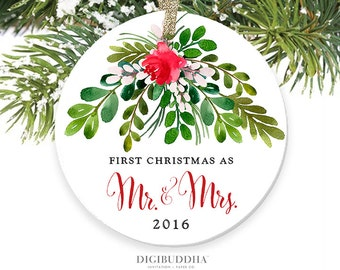 First Christmas as Mr and Mrs Christmas Ornament Newlywed Christmas Watercolor Ornament 1st Christmas First Married Ornament Wedding Gift