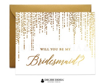 Real Gold Foil Will You Be My Bridesmaid Card Maid of Honor Ask Bridesmaid Matron Real Foil Flower Girl Card Gold Shimmer Envelope CW0006