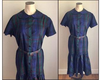 Vintage 1960s Jonathan Logan Misses' Short Sleeve Navy Plaid Dress Ruffle Hem 6 8