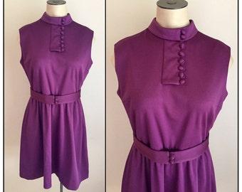 Vintage 1960s Misses' Purple Polyester Knit Sleeveless Dress 4 6