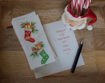 """Vintage """"Stockings & Presents"""" Merry Christmas and Happy New Year Cards    Set of 8"""