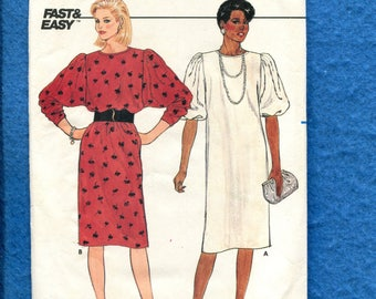 Vintage 1980's Butterick 6676 Retro Dress with Deep Cut Puff Sleeves Size 8..10..12 UNCUT