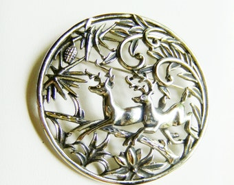 Woodland Deer Figural Pin by Sarah Coventry Dated 1960 Model 6696 Stags Holiday Jewelry