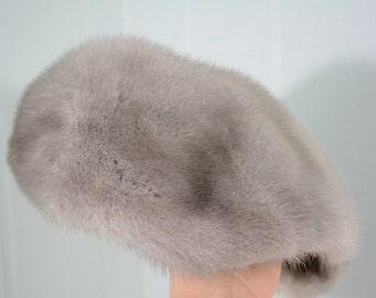 Mid Century Ladies Grey Mink Newboy Golfer Hat with Comb Fastener