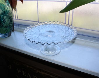 Glass Cake Stand Scalloped Edge Vintage 1960s