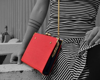 Vintage Book Purse Clutch Shoulder Bag Handbag Unique Rockabilly Nautical Red Blue Navy Bag with Gold Luxury Chain