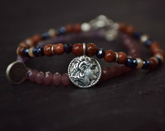 Ancient Greek Coin Gemstone Bracelet, Phaistos Disc Alexander the Great Greek Jewelry, Goldstone Amethyst Crystal Sterling Silver Bracelet