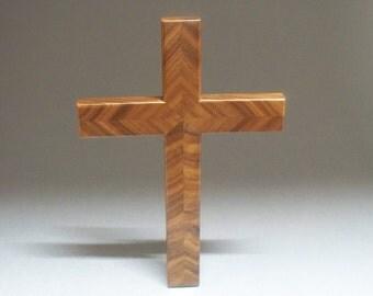 Chevron Cross, Wall Hanging Walnut, Handmade in the USA.
