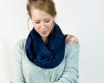 Navy Infinity Scarf, Blue Scarf, Jersey Scarf, Circle Scarf, Navy Scarf, Womens Scarf  Cotton Winter Scarf Wife Gift, Mom Gift, Gift for Her