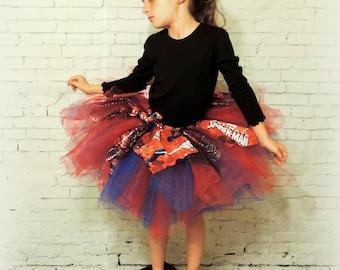Girls spiderman tutu tulle skirt,spiderman tutu skirt,super hero tutu skirt,spiderman birthday tutu sewn tutu, red blue tutu spiderman skirt