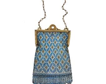 1920's Mandalian Mesh Dance Purse // Art Deco Blue, White, Gold Enamel Flapper Bag // Antique Art Nouveau Edwardian Wristlet Downton Abbey