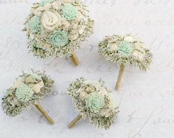 Forever Timeless Wedding Flower Set // Mint Green, Wedding Bouquets, Bridal Flowers, Wedding Set, Keepsake Flowers, Bridal Bouquets, Burlap