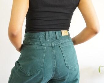 "Lee Green Highwaisted Mom Jeans Size 14/ 30"" Waist/ Vintage Jeans/ Green Jeans/ High Waisted"