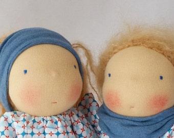 Waldorf doll twins 33 cm / 13 inch, handmade rag doll, baby doll, limbed doll, cloth doll, offer includes 2 dolls