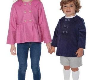 Tate Pattern / jacket / coat / boys / girls / pointed collar / 2 styles /Children's Corner #291