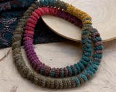 Multicolor spiral loop necklace, crochet skinny scarf, long chunky necklace, fiber statement jewelry