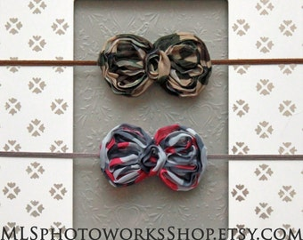 Mini Camo Baby Girl Hair Bow Headband Set - Petite Camouflage Bows for Babies, Little Girls - Hunting, Army Camo Headband
