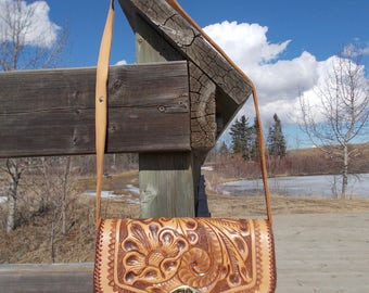 vintage tooled leather handmade shoulder bag mexican cowboy south western boho festival purse- 70s