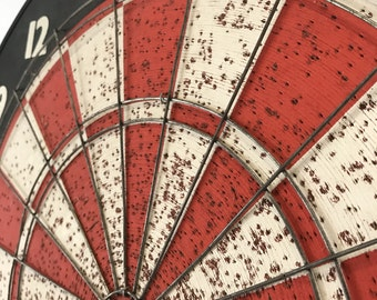 Vintage Dart Board Red White Spool Memo Board with black and white bullseye on reverse side