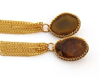 Agate Drop Earrings, Gemstone Dangle Earrings, Gemstone Earrings, Gold Chain Fringe Earrings, Gold Chain Tassel Earrings, Gift for Her