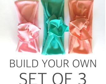 Bundle & Save // Build Your Own Set of 3 // Flower Jersey Headband // Baby Girl Headband // Infant // Newborn // Adult // Floral :FL