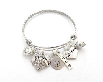 GODMOTHER GIFT, Godmother Bracelet, Gifts for Godmothers, New Aunt Bangle, Godmother Charm, Initial Bracelet, AUNT Jewelry, Aunt Charm