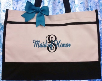 Set of 4 Tote Bags Personalized Gift Bridesmaids Wedding Party Bridesmaid Gifts