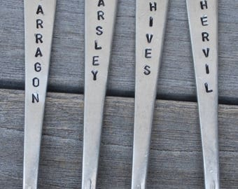 "FRENCH HERB Garden Marker Stakes 4"" Tarragon ~ Parsley ~ Chives ~ Chervil hand stamped  SET of 4"