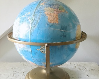 Vintage World Globe Metal Brass Stand Cram's